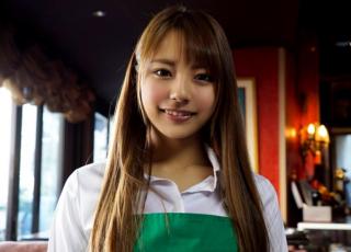 【河南実里】カフェでアルバイトしている激カワ女子大生の帰りを待って再びAV撮影