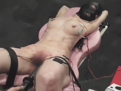 パイパンのメス犬奴隷のM女の乳首と陰部に電気を流し絶叫しながらピクピク痙攣して失神させる快感を超越した電流SM調教
