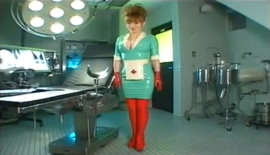 ピチピチのラバー素材ナース服に爆乳がスケベすぎる看護婦さん!ゴム手袋を着用してタイトな手コキでザーメンを搾り取る!