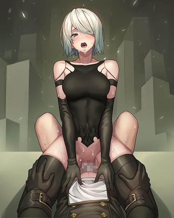 【二次元】A2の騎乗位セックスエロ画像【ニーアオートマタ】