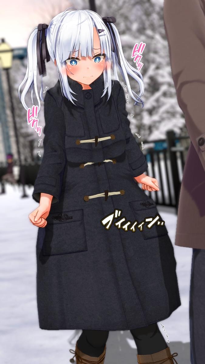 【COM3D2】銀髪ツインテ美少女の露出ローター責めエロ画像1【カスタムオーダーメイド3D2】