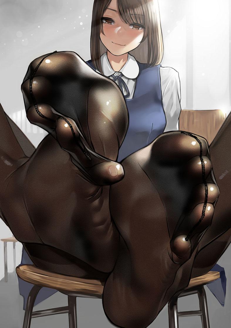 【オリジナル】制服美少女の素足&黒タイツ足フェチ二次エロ画像【よむ】