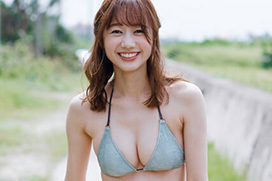 高田秋(27)の最新水着グラビアのクビレおっぱいエロ画像45枚