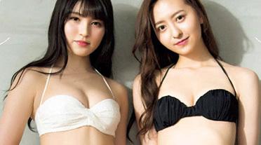 HKTのスレンダー美人担当 神志那結衣(20)と森保まどか(20)が水着コラボ。