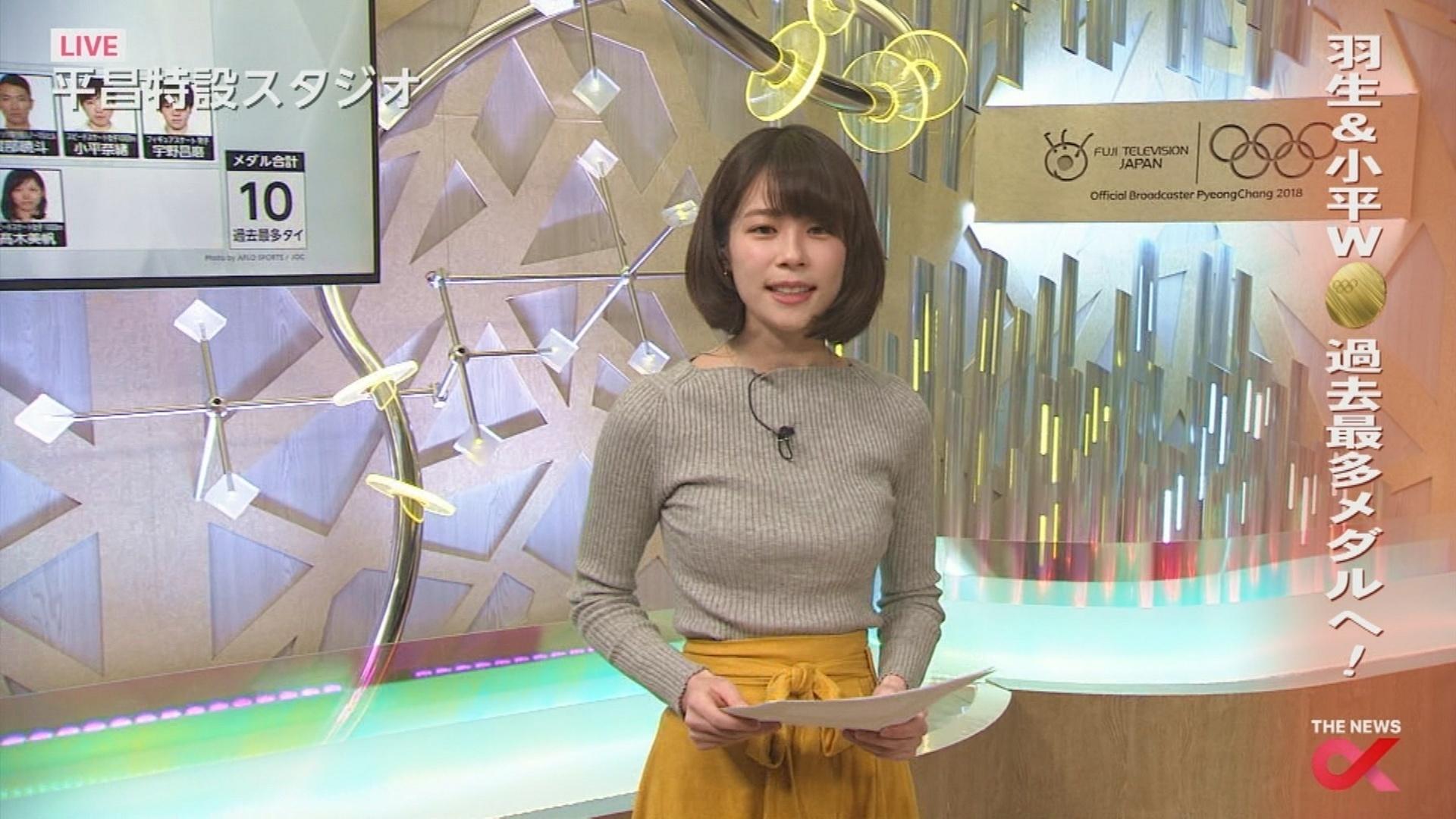 鈴木唯アナ 盛り乳ニットおっぱい&ミニスカ▼ゾーンセクシー画像